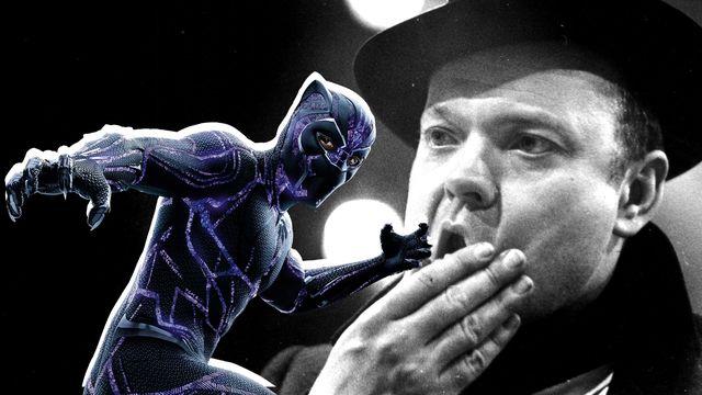 imagen de chadwick boseman caracterizado como el personaje de marvel studios black panther superpuesta sobre orson welles en el rodaje de ciudadano kane