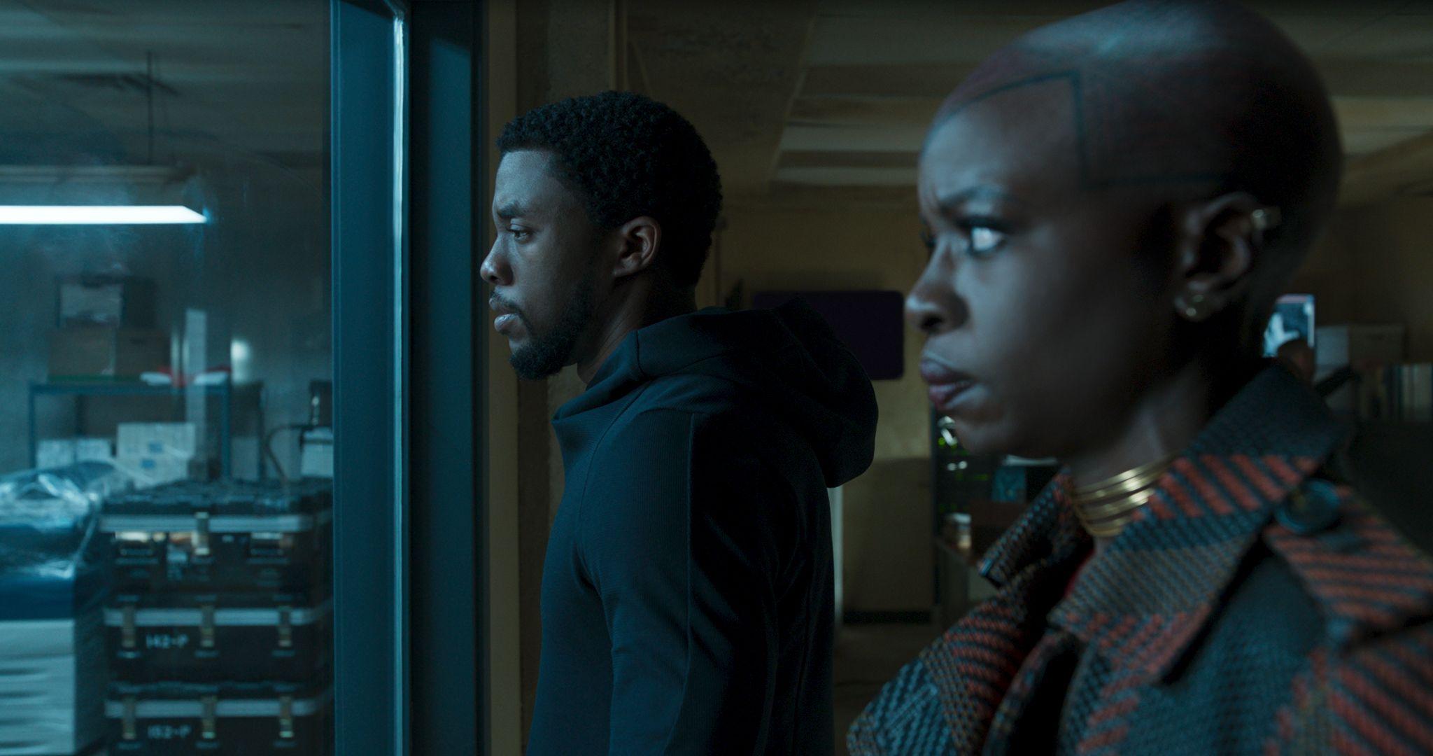 Chadwick Boseman (T'Challa) and Danai Gurira (Okoye)