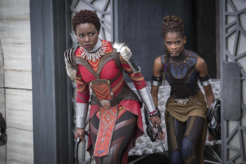 Lupita Nyong'o (Nakia) and Letitia Wright (Shuri) in Black Panther