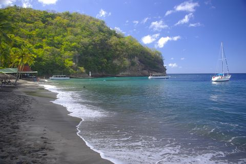black sand beach of anse chastanet soufriere st lucia