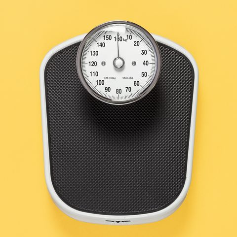 black weighing scales on yellow background