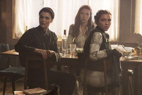 Scarlett Johansson, Florence Pugh and Rachel Weisz in Black Widow