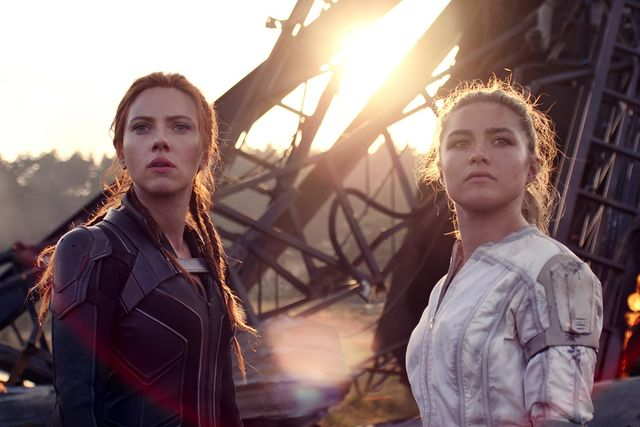 l r black widownatasha romanoff scarlett johansson and yelena florence pugh in marvel studios' black widow, in theaters and on disney with premier access photo courtesy of marvel studios ©marvel studios 2021 all rights reserved