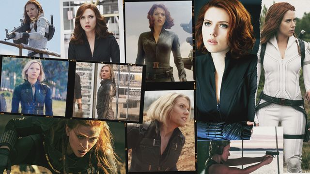 a collection of shots of scarlett johansson as black widow
