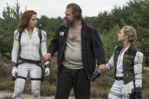 Scarlett Johansson David Harbor and Florence Pugh in Marvel's Black Widow