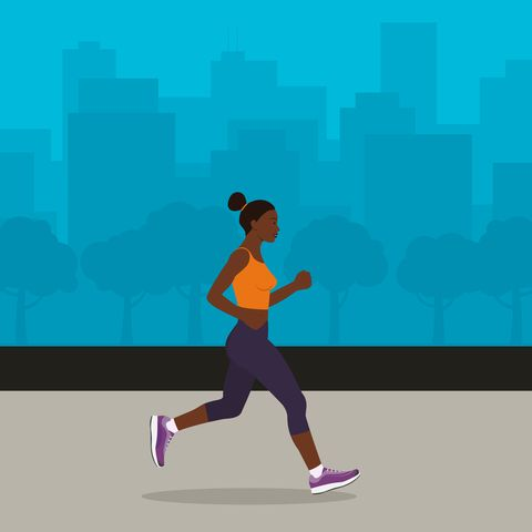 black woman jogging with cityscape on the background illustration