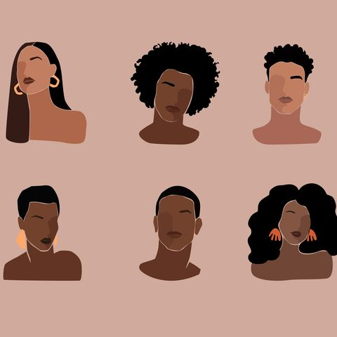 black young beautiful women and man portraits with different hairstyle