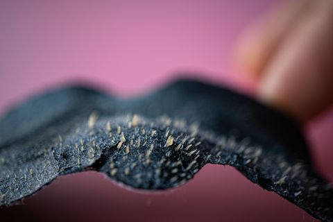 blackhead remover sheet in macro studio shot after used