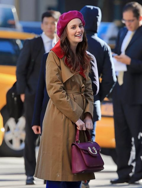 blair waldorf wears a carven trench coat 2012