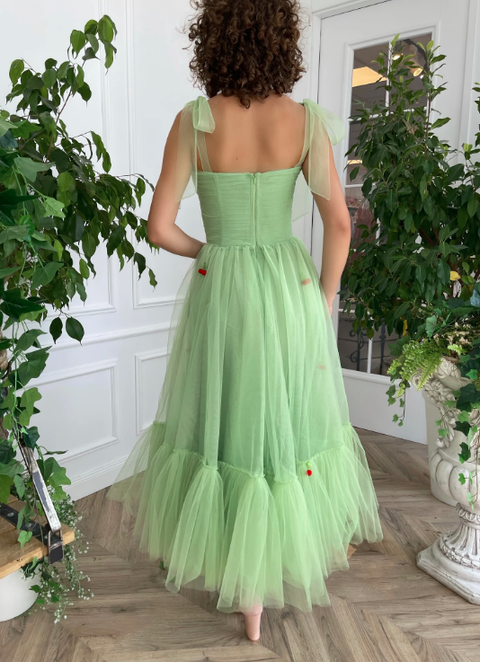 blake lively celebrated her birthday party and for the occasion wore a green chiffon corset dress and skirt with teuta matoshi embroidered cherries