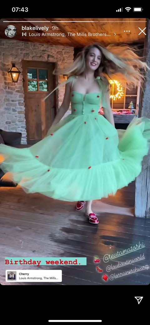 blake lively twirling in her mint birthday dress