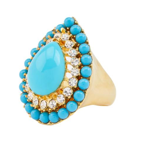 gouden ring met blauwe edelstenen en kristallen van kenneth jay lane via farfecth