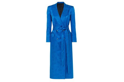Clothing, Blue, Cobalt blue, Dress, Turquoise, Electric blue, Robe, Outerwear, Day dress, Sleeve,