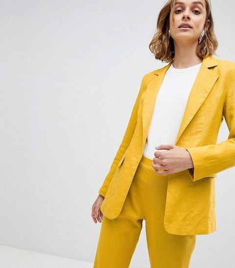 Clothing, Yellow, Blazer, Outerwear, Suit, Jacket, Formal wear, Fashion, Button, Overcoat,