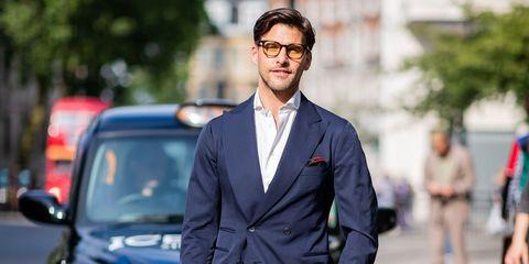 Suit, Street fashion, White-collar worker, Fashion, Formal wear, Eyewear, Outerwear, Vehicle, Car, Glasses,