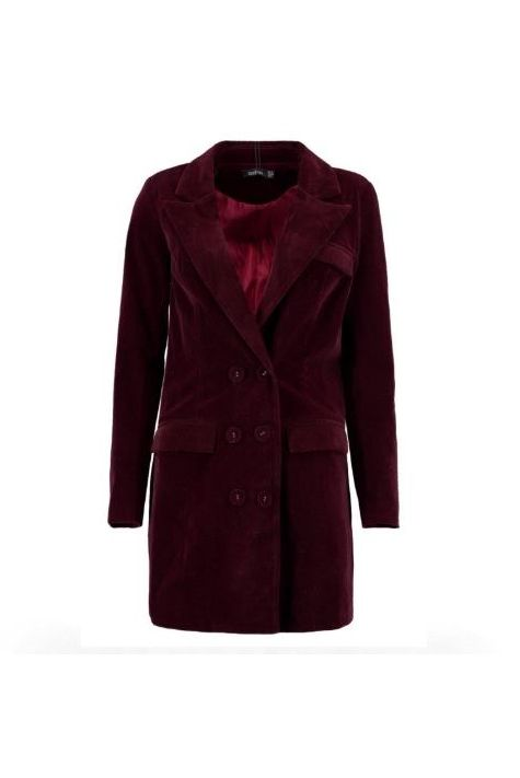 Clothing, Coat, Outerwear, Trench coat, Overcoat, Maroon, Sleeve, Collar, Velvet, Jacket,