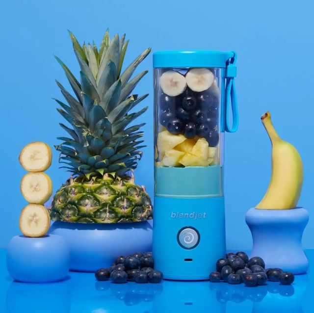 blendjet 2 personal blender with pineapple bananas and blueberries