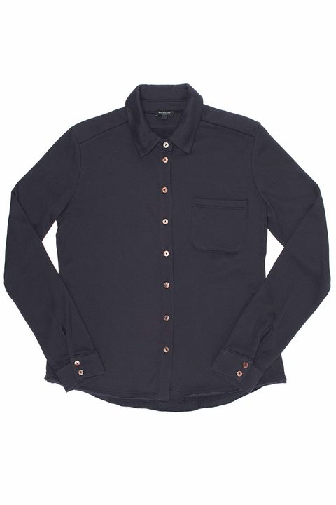 Clothing, Black, Sleeve, Outerwear, Button, Jacket, Collar, Shirt, Top, Pocket,