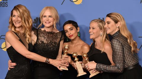 beverly hills, ca   january 07  laura dern, nicole kidman, zoe kravitz, reese witherspoon and shailene woodley attend the 75th annual golden globe awards   press room at the beverly hilton hotel on january 7, 2018 in beverly hills, california  photo by david crottypatrick mcmullan via getty images