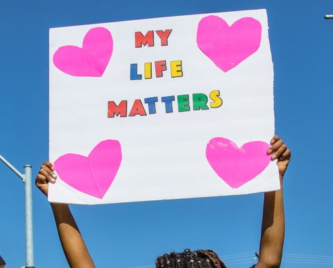 reno, nevada, united states   20210417 a girl holding a placard saying, my life matters, during the march protesters gather to march in solidarity with other blm black lives matter demonstrators across the country while the group was heckled by a few they passed by, the march remained peaceful photo by ty oneilsopa imageslightrocket via getty images