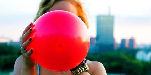 Balloon, Pink, Hand, Party supply,