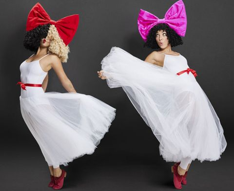 White, Pink, Red, Dress, Dance, Headpiece, Fashion, Costume, Event, Footwear,