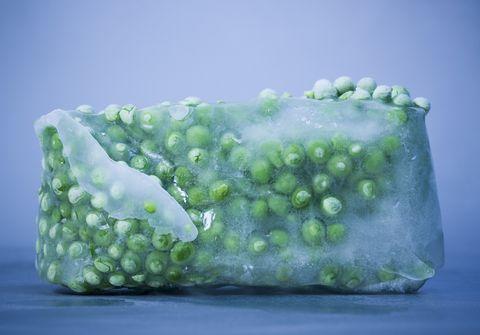 block of frozen peas