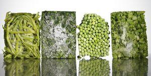 Blocks of frozen vegetables