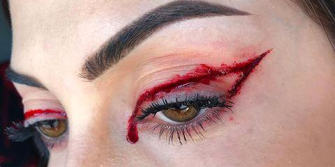 Eyebrow, Eye, Eyelash, Face, Red, Skin, Organ, Eye shadow, Close-up, Beauty,