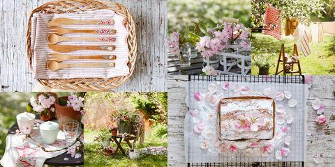 Pink, Spring, Flower, Textile, Plant, Floral design, Picnic, Peach, Blossom,