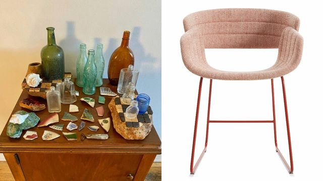 bottles and junk on the left and picture of pink dining chair on the right