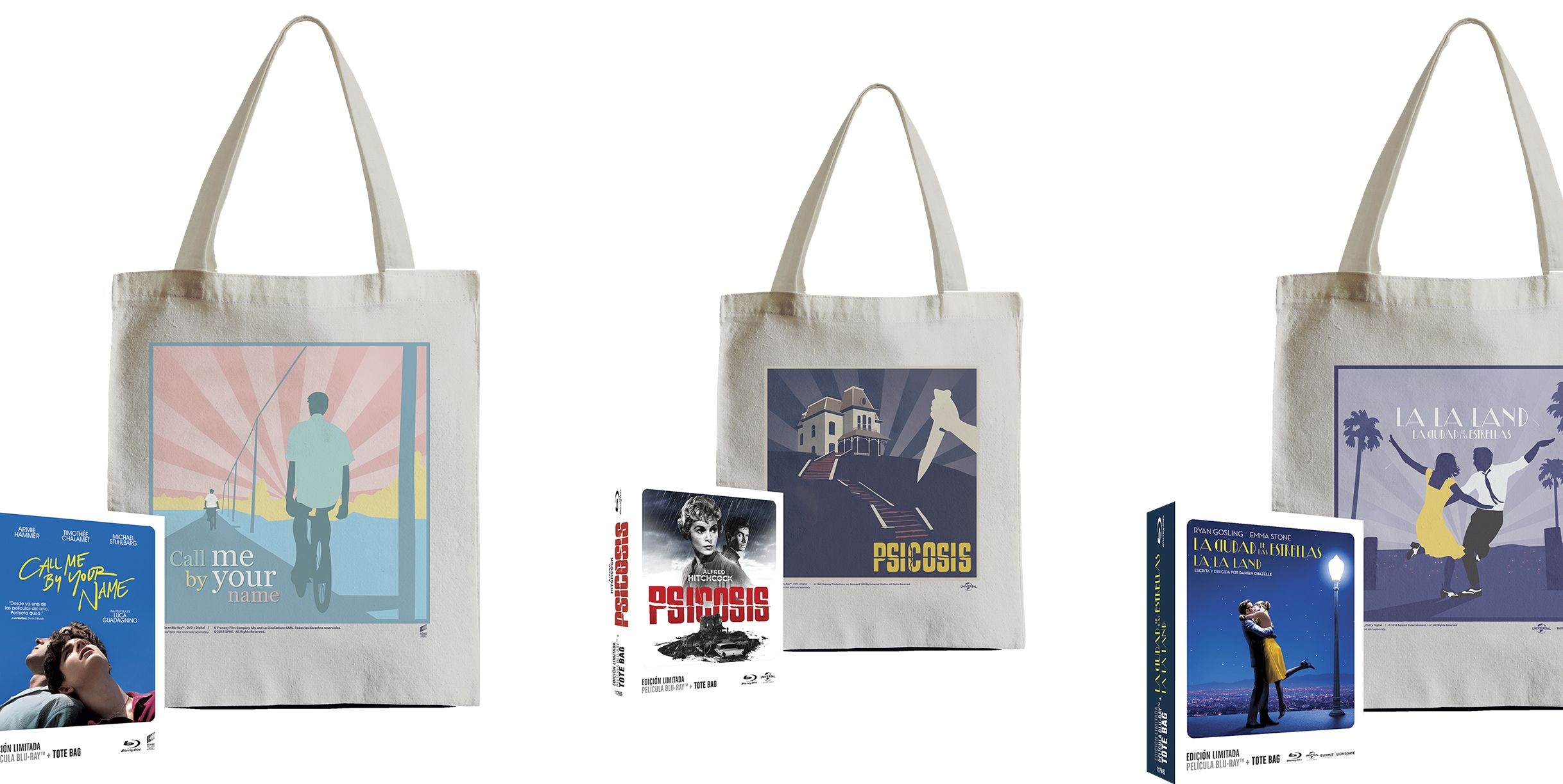 Blu-ray Tote bag de call me by your name psicosis la la land