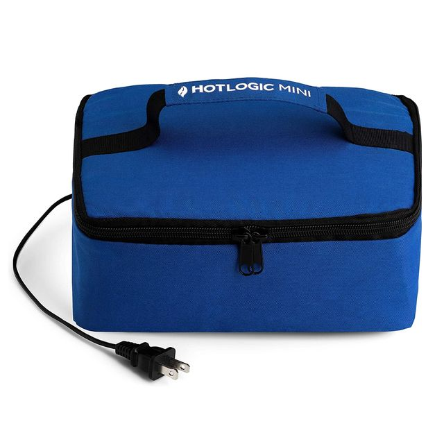 blue lunch bag in a rectangle shape