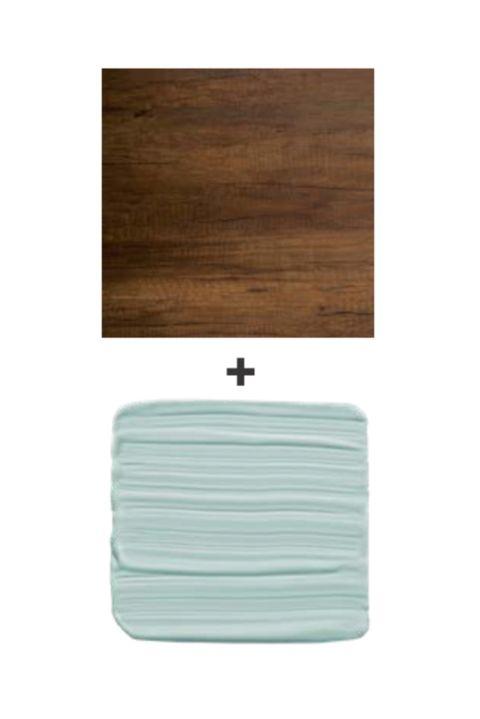 dark wood and light blue paint swatch