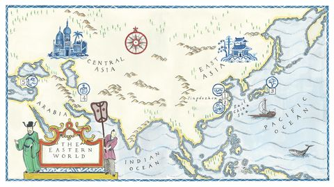 a handprinted illustration of a map of the eastern world