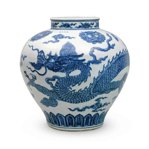 blue and white ceramics ming dynasty porcelain jar with a dragon illustration