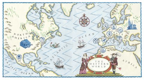 a handprinted illustrated map of the western world