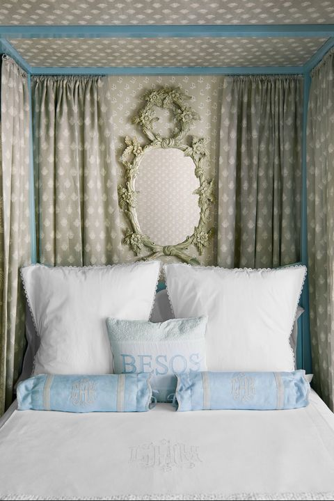 Bedroom, Bed, Furniture, Room, Turquoise, Interior design, Aqua, Curtain, Bedding, Canopy bed,