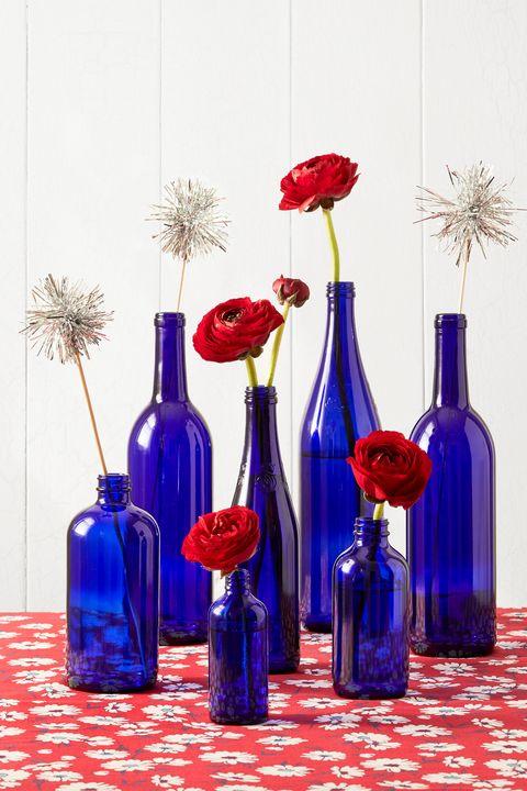 blue bottles centerpiece 4th of july crafts