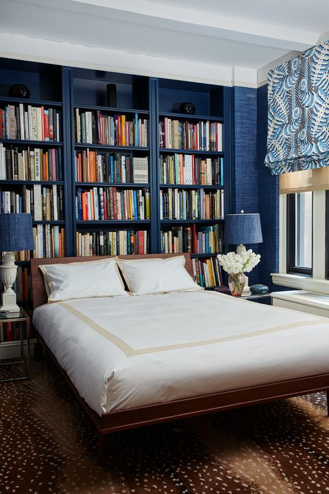 Furniture, Bed, Bedroom, Room, Bookcase, Interior design, Shelving, Shelf, Bed sheet, Bed frame,