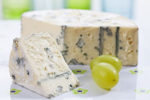 Blue cheese with peppercorn, close up