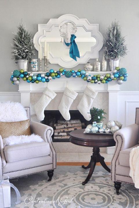blue christmas decor ideas mantel