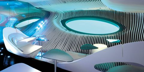 The underwater lounge on the Ponant Explorers line of ships