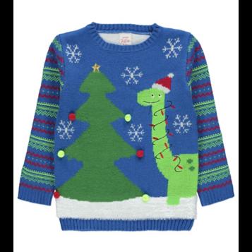 Blue Festive Scene Dinosaur Christmas Jumper