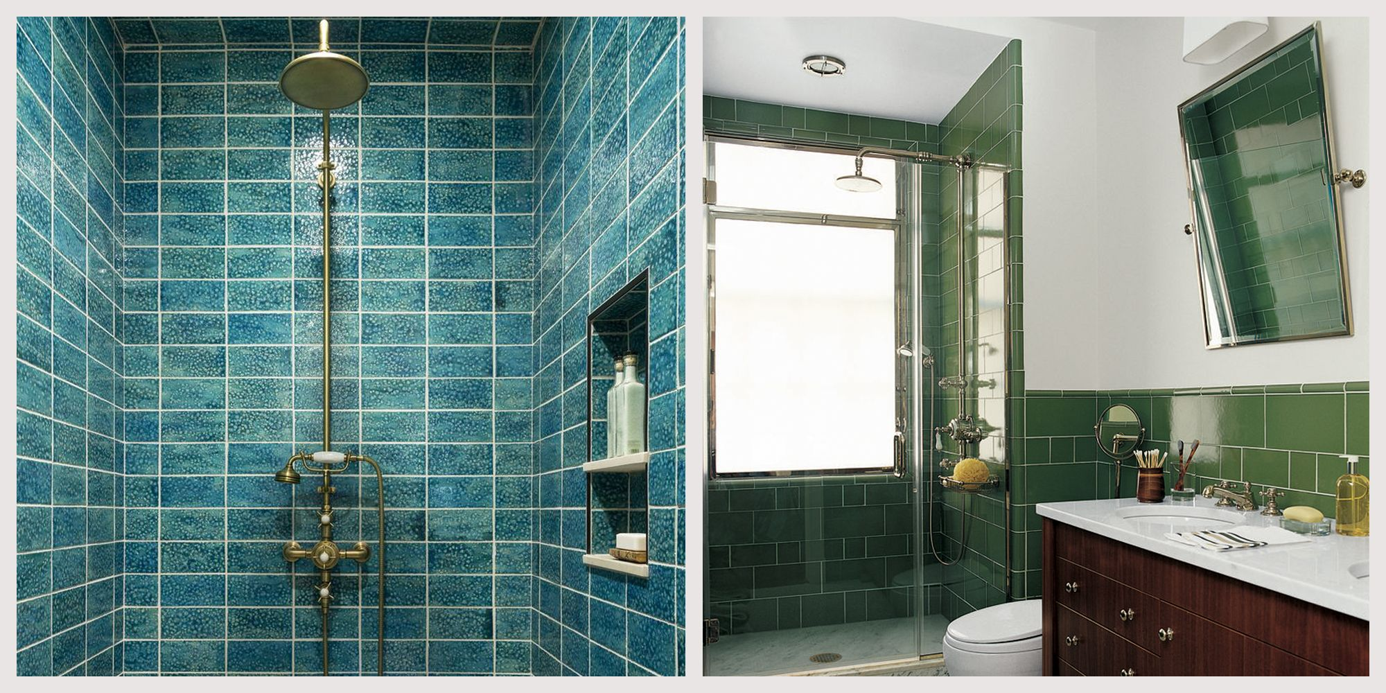 24 Creative Bathrooms with Vibrant Blue & Green Shower Tiles