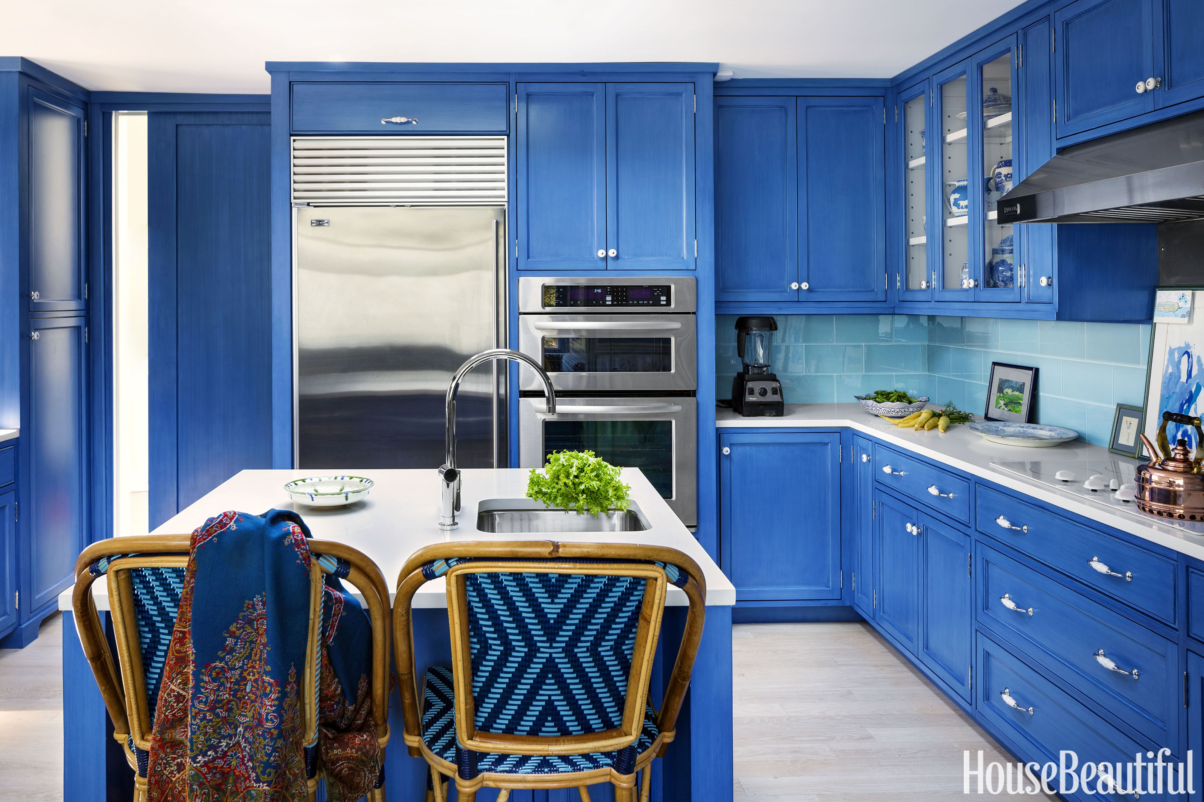 House Beautiful & 15 Blue Kitchen Design Ideas - Blue Kitchen Walls