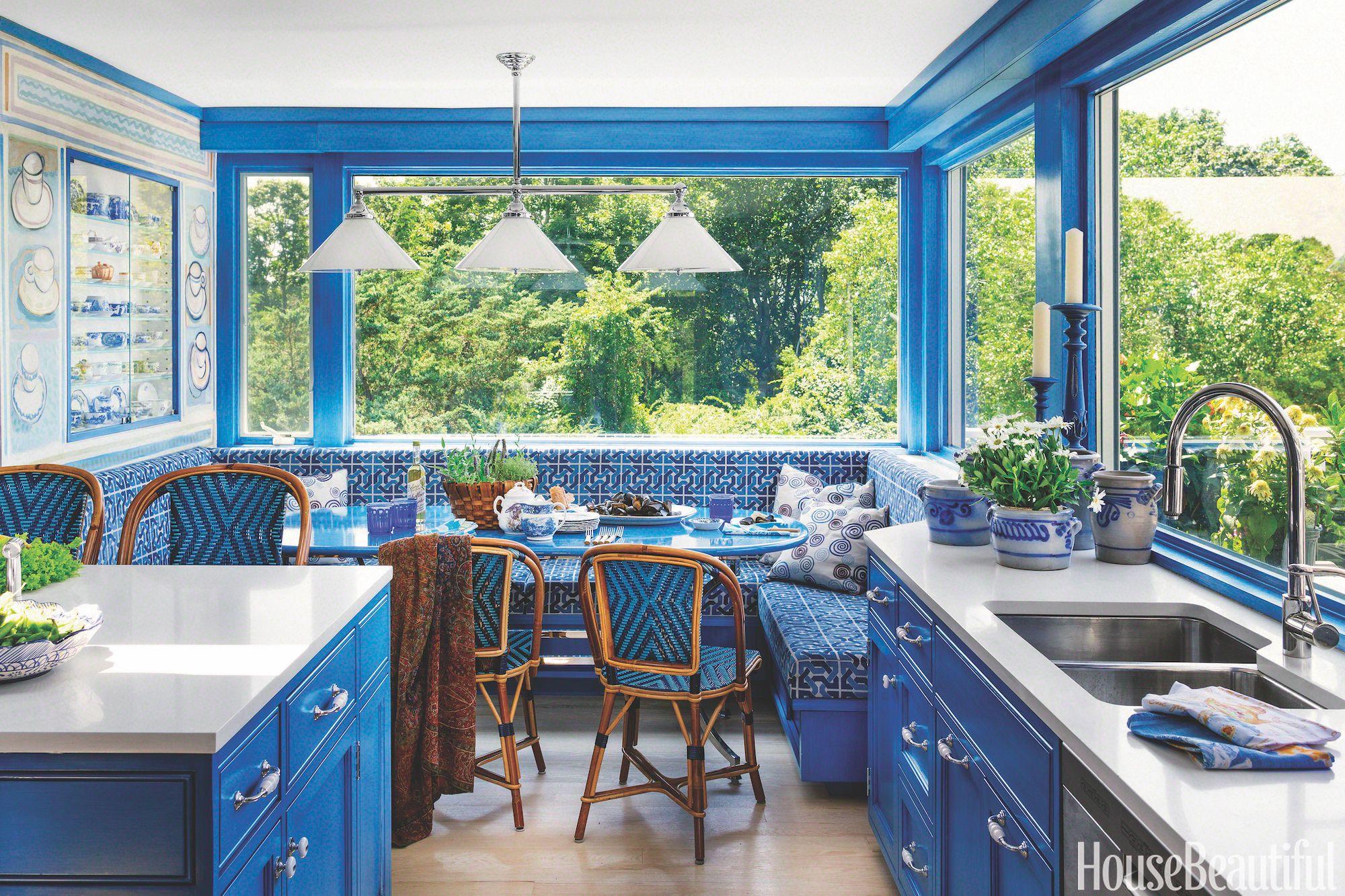 blue kitchen with breakfast nook