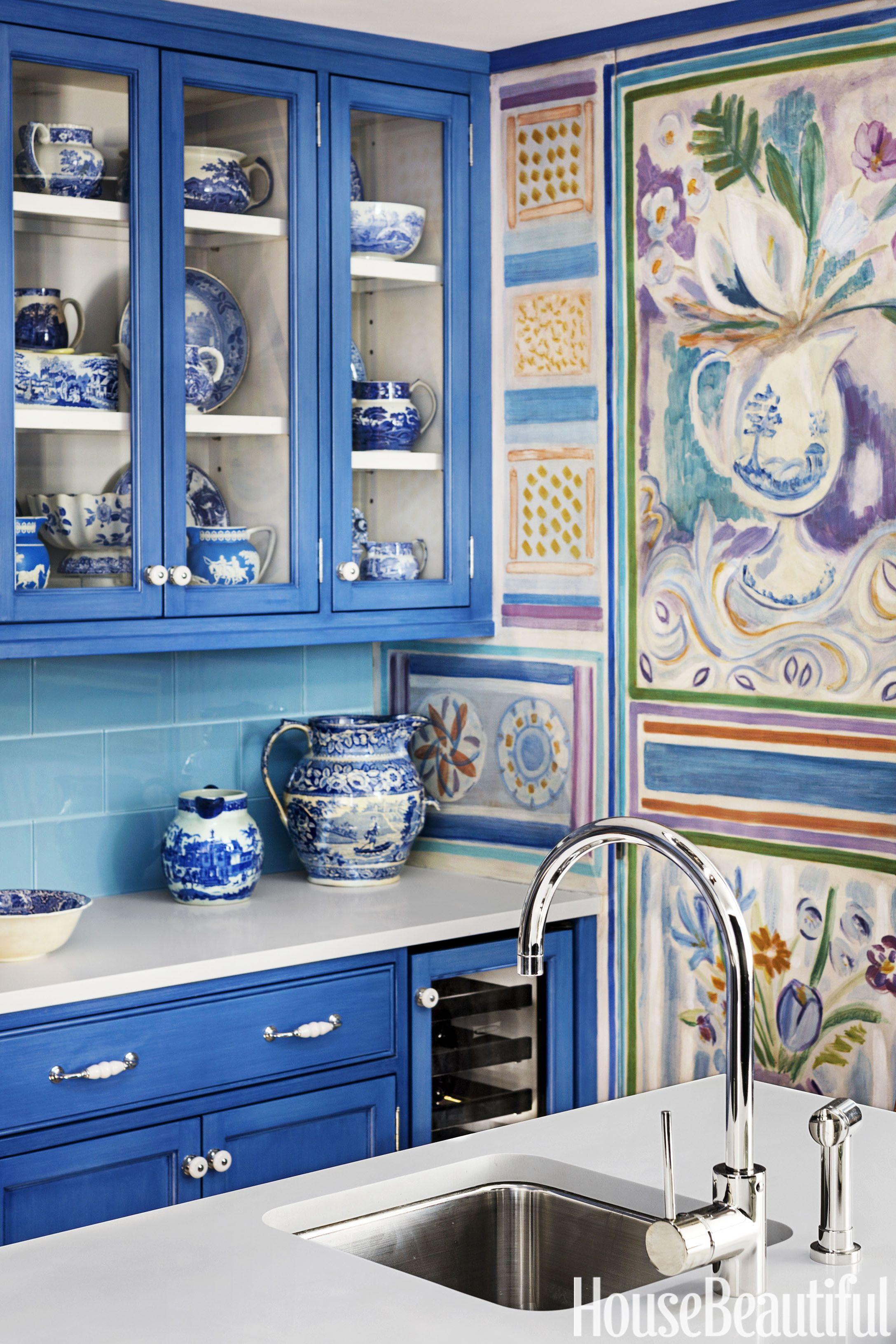 blue kitchen with sink