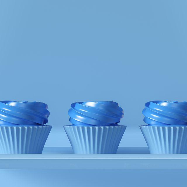 3 blue luxury rosette muffin cakes