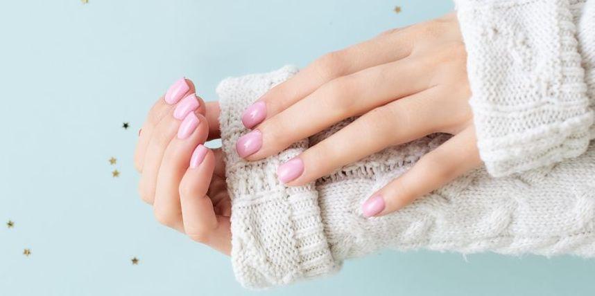 blue manicure on female hand royalty free image